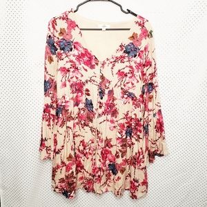 Entro floral bell sleeve baby doll mini dress